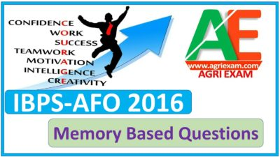 Agriculture Officer Question Paper 2016 Memory Based you can mack pdf of this Question Paper . Professional Knowledge 50 Question In This Post
